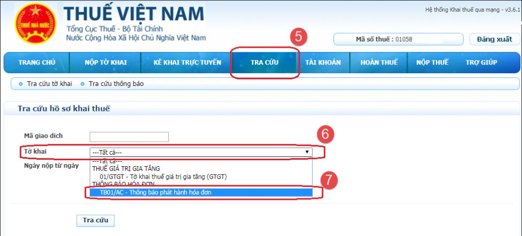 tải lên Thông báo phát hành hóa đơn điện tử định dạng XML