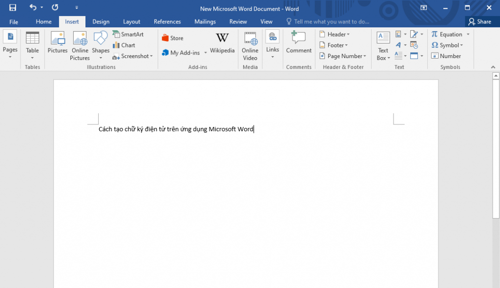 Tạo một file word mới trên ứng dụng Microsoft Word